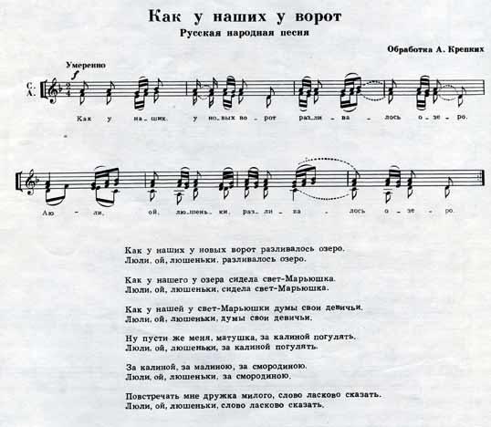 Ноты русской народной песни Как у наших у ворот