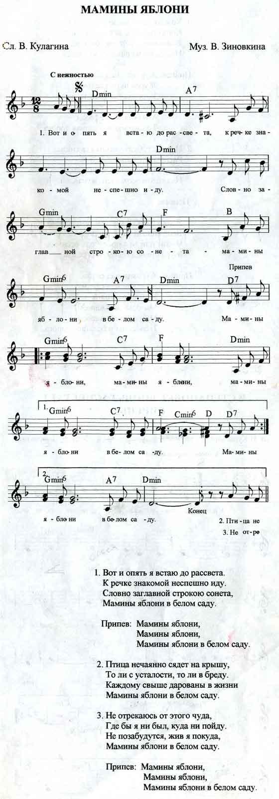 Ноты песни Мамины яблони