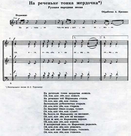 Ноты русской народной песни На реченьке тонка жердочка